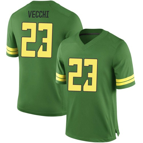 Men's Nike Jack Vecchi Oregon Ducks Game Green Football College Jersey
