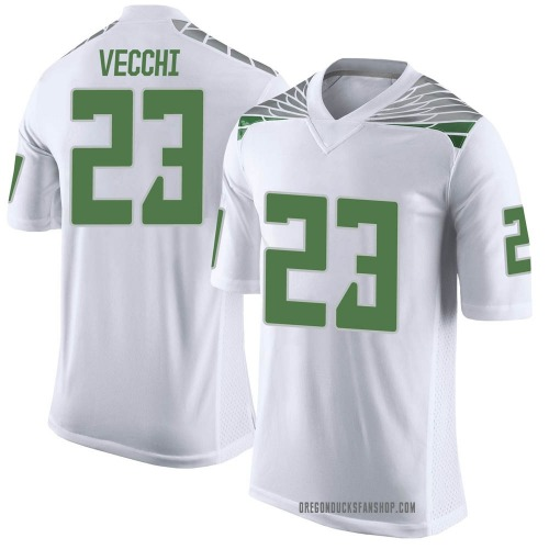 Men's Nike Jack Vecchi Oregon Ducks Limited White Football College Jersey