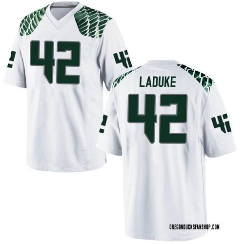 Men's Nike Jackson LaDuke Oregon Ducks Game White Football College Jersey
