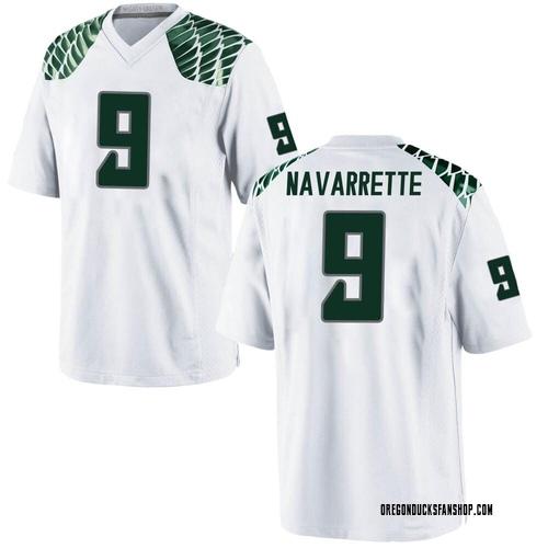 Men's Nike Jaden Navarrette Oregon Ducks Game White Football College Jersey