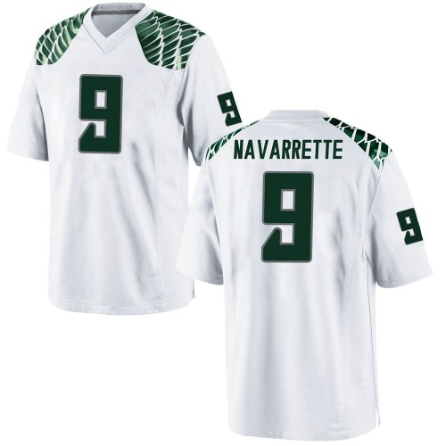 Men's Nike Jaden Navarrette Oregon Ducks Replica White Football College Jersey