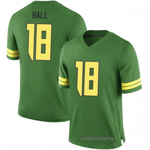 Men's Nike Jalen Hall Oregon Ducks Game Green Football College Jersey