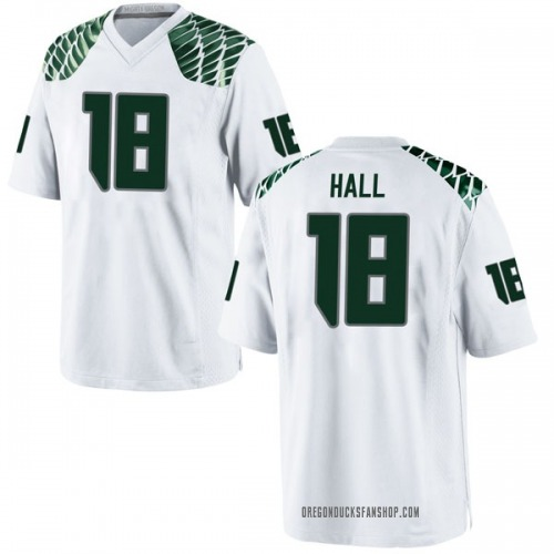 Men's Nike Jalen Hall Oregon Ducks Game White Football College Jersey