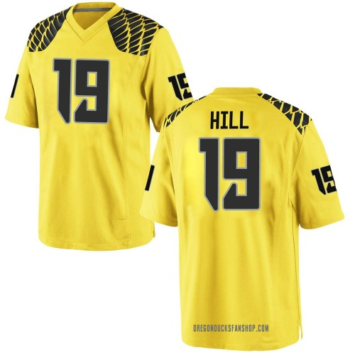 Men's Nike Jamal Hill Oregon Ducks Game Gold Football College Jersey