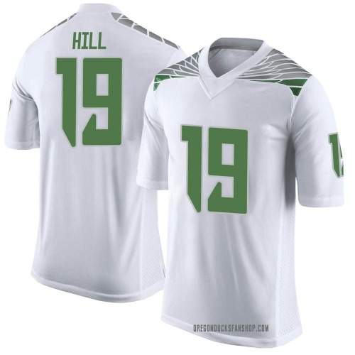 Men's Nike Jamal Hill Oregon Ducks Limited White Football College Jersey