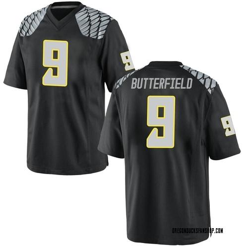 Men's Nike Jay Butterfield Oregon Ducks Game Black Football College Jersey