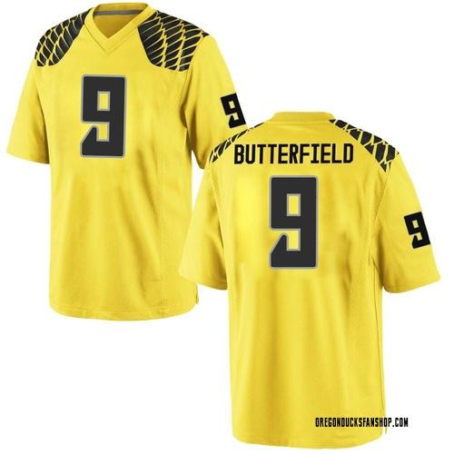 Men's Nike Jay Butterfield Oregon Ducks Game Gold Football College Jersey