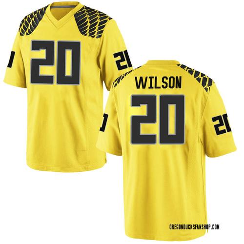 Men's Nike Jayvaun Wilson Oregon Ducks Game Gold Football College Jersey