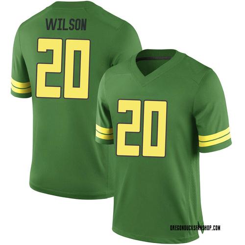 Men's Nike Jayvaun Wilson Oregon Ducks Game Green Football College Jersey