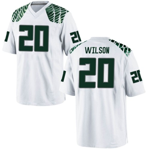 Men's Nike Jayvaun Wilson Oregon Ducks Game White Football College Jersey