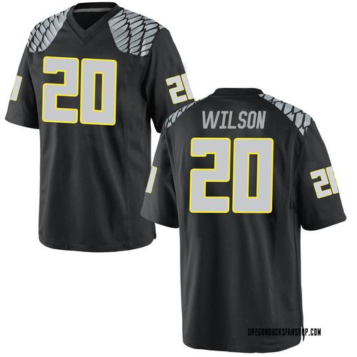 Men's Nike Jayvaun Wilson Oregon Ducks Replica Black Football College Jersey