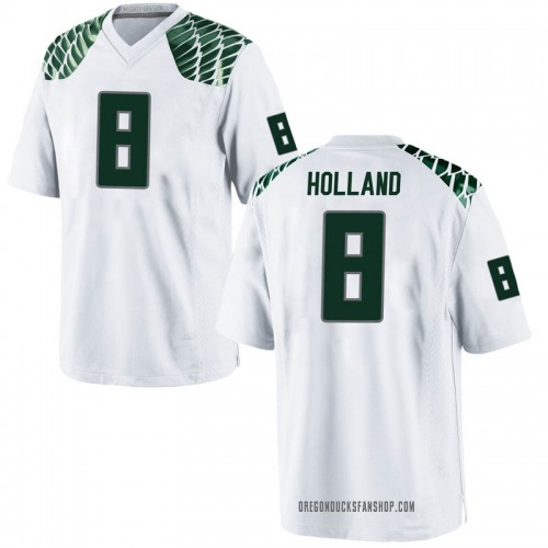 Men's Nike Jevon Holland Oregon Ducks Replica White Football College Jersey