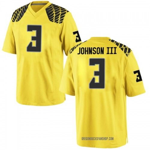 Men's Nike Johnny Johnson III Oregon Ducks Game Gold Football College Jersey