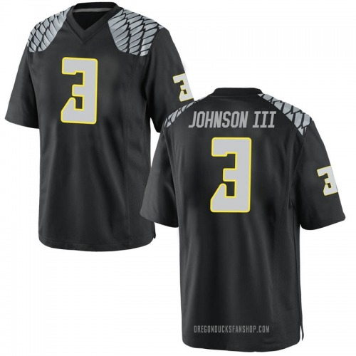 Men's Nike Johnny Johnson III Oregon Ducks Replica Black Football College Jersey