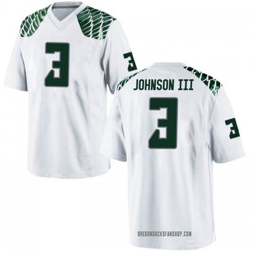 Men's Nike Johnny Johnson III Oregon Ducks Replica White Football College Jersey