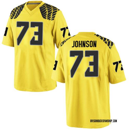 Men's Nike Justin Johnson Oregon Ducks Game Gold Football College Jersey