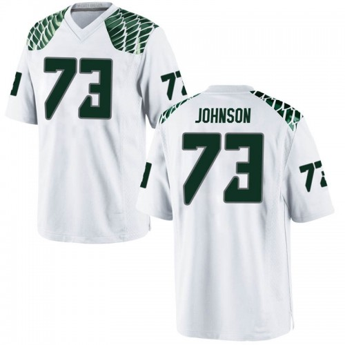 Men's Nike Justin Johnson Oregon Ducks Game White Football College Jersey