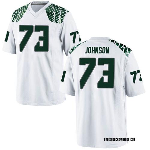 Men's Nike Justin Johnson Oregon Ducks Replica White Football College Jersey