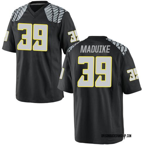 Men's Nike KJ Maduike Oregon Ducks Game Black Football College Jersey