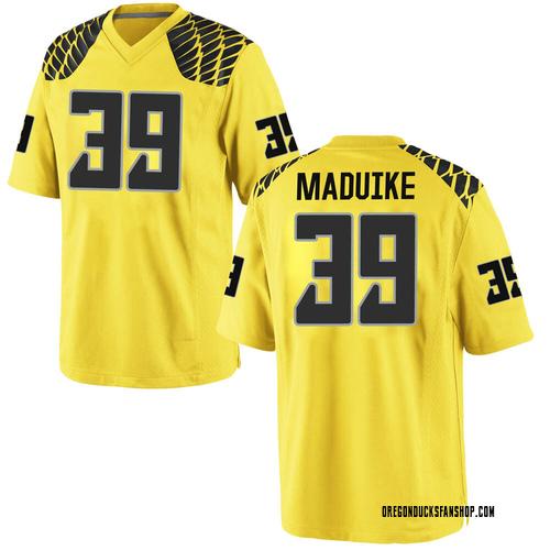 Men's Nike KJ Maduike Oregon Ducks Game Gold Football College Jersey