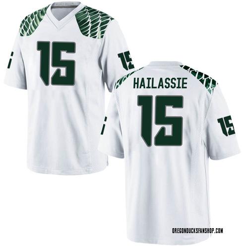 Men's Nike Kahlef Hailassie Oregon Ducks Game White Football College Jersey