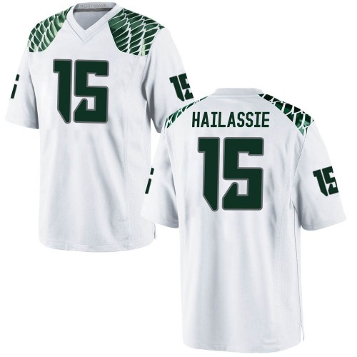 Men's Nike Kahlef Hailassie Oregon Ducks Replica White Football College Jersey