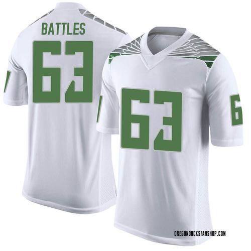 Men's Nike Karsten Battles Oregon Ducks Limited White Football College Jersey