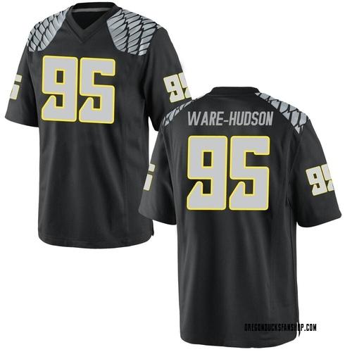 Men's Nike Keyon Ware-Hudson Oregon Ducks Game Black Football College Jersey
