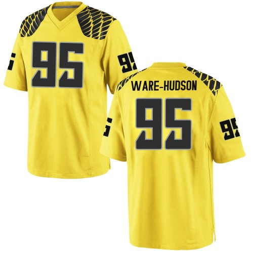 Men's Nike Keyon Ware-Hudson Oregon Ducks Game Gold Football College Jersey