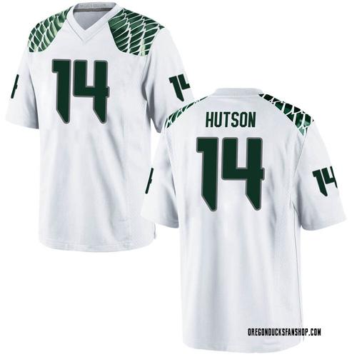 Men's Nike Kris Hutson Oregon Ducks Game White Football College Jersey