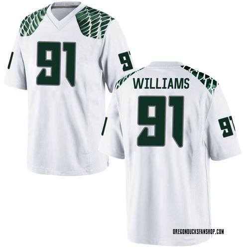 Men's Nike Kristian Williams Oregon Ducks Game White Football College Jersey