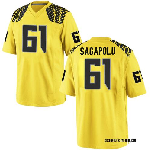 Men's Nike Logan Sagapolu Oregon Ducks Game Gold Football College Jersey