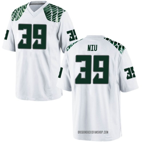 Men's Nike MJ Cunningham Oregon Ducks Game White Football College Jersey