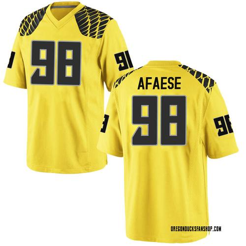 Men's Nike Maceal Afaese Oregon Ducks Game Gold Football College Jersey