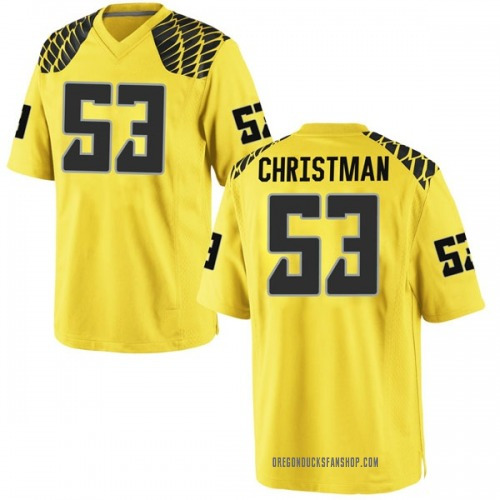 Men's Nike Matt Christman Oregon Ducks Game Gold Football College Jersey