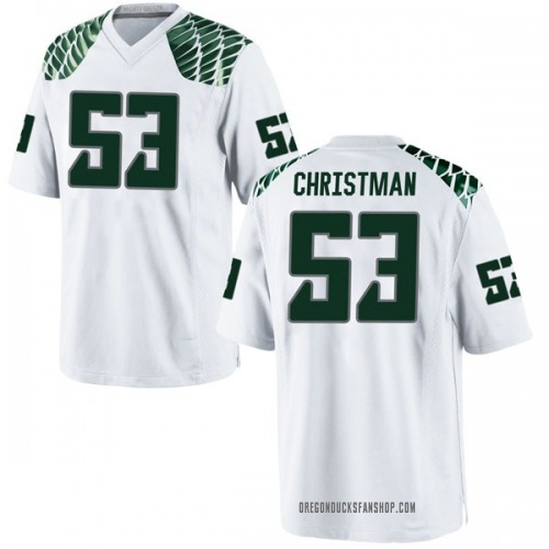 Men's Nike Matt Christman Oregon Ducks Game White Football College Jersey