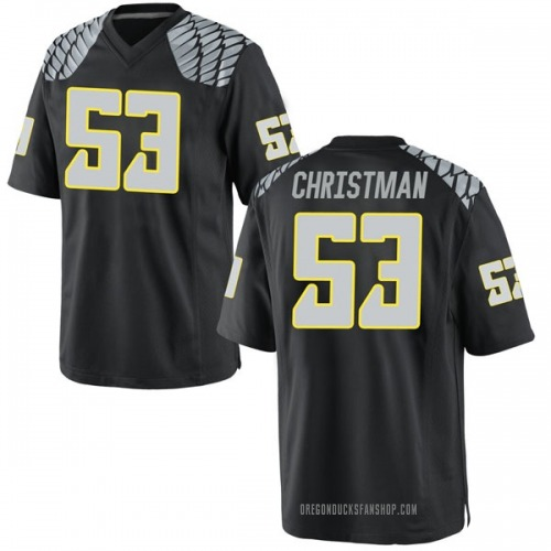 Men's Nike Matt Christman Oregon Ducks Replica Black Football College Jersey
