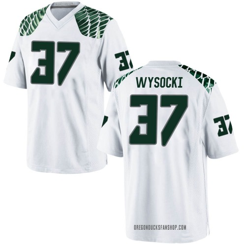 Men's Nike Max Wysocki Oregon Ducks Game White Football College Jersey