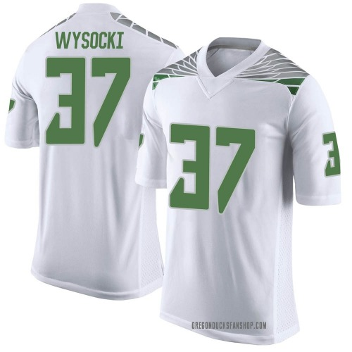 Men's Nike Max Wysocki Oregon Ducks Limited White Football College Jersey