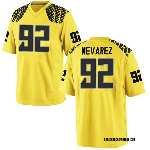 Men's Nike Miguel Nevarez Oregon Ducks Game Gold Football College Jersey