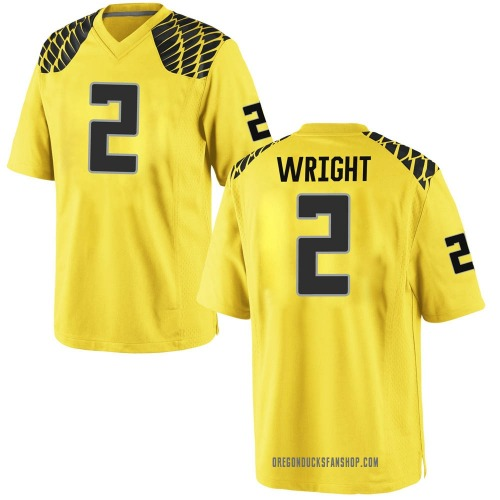 Men's Nike Mykael Wright Oregon Ducks Game Gold Football College Jersey