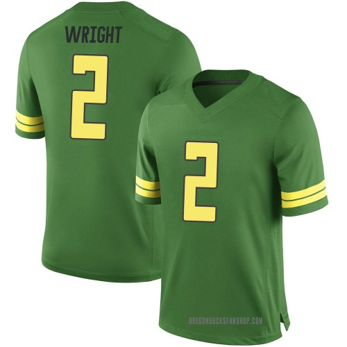 Men's Nike Mykael Wright Oregon Ducks Game Green Football College Jersey