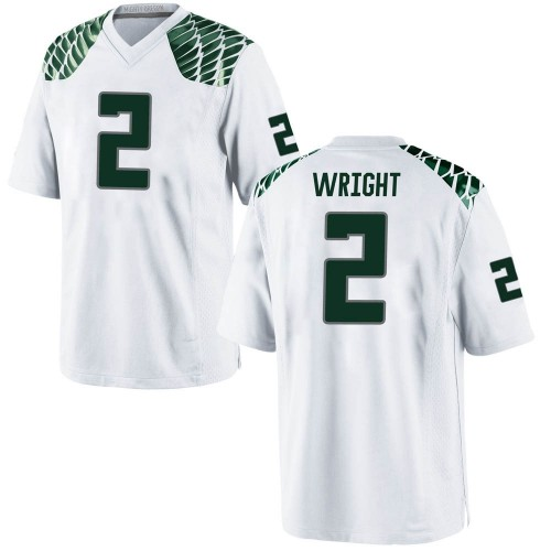 Men's Nike Mykael Wright Oregon Ducks Game White Football College Jersey