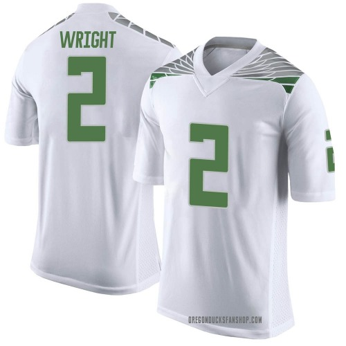 Men's Nike Mykael Wright Oregon Ducks Limited White Football College Jersey