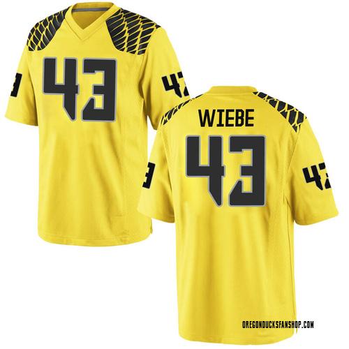 Men's Nike Nick Wiebe Oregon Ducks Game Gold Football College Jersey
