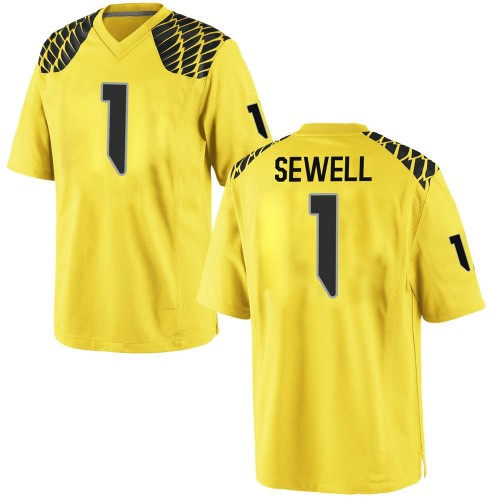 Men's Nike Noah Sewell Oregon Ducks Game Gold Football College Jersey