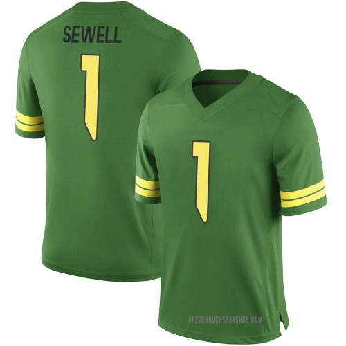 Men's Nike Noah Sewell Oregon Ducks Game Green Football College Jersey