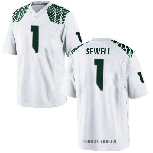 Men's Nike Noah Sewell Oregon Ducks Game White Football College Jersey