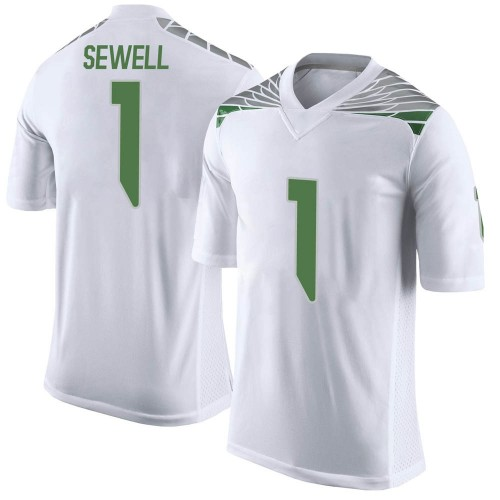 Men's Nike Noah Sewell Oregon Ducks Limited White Football College Jersey