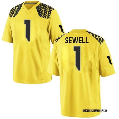 Men's Nike Noah Sewell Oregon Ducks Replica Gold Football College Jersey